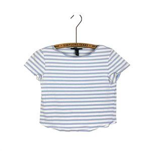Forever 21 Cropped T Shirt Striped Blue White Tee